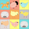 Seamless background with baby animals from fabric patchwork Stock Images