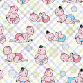 Seamless background with baby boys and baby girls