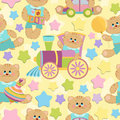 Seamless background with baby's objects Royalty Free Stock Photos