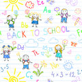 Seamless background back to school vector sketches with happy pupils sketch on notebook page Stock Images