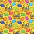 Seamless background basket colorful painted chicken easter eggs Stock Photography