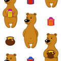 Seamless background, bear with gifts Stock Photography