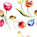 Seamless background with beautiful tulips flowers watercolor illustration Royalty Free Stock Photo