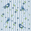 Seamless background with birds and flowers Royalty Free Stock Photo