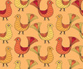 Seamless background from birds in naitive style Royalty Free Stock Images