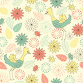 Seamless background with birds soft flowers and bugs Stock Photos