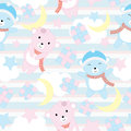 Seamless background of birthday illustration with cute baby bears on blue stripe background suitable for wallpaper, scrap paper an