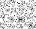 Seamless a background with black butterflies Stock Photography