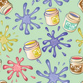 Seamless background from the blots. cans of paint Stock Photo