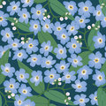 Seamless background with blue flowers Royalty Free Stock Photos