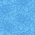 Seamless background with blue flowers beautiful hand drawn contour lines and strokes perfect for greeting cards and Royalty Free Stock Photo