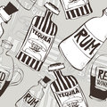 Seamless background with bottles hand drawn tequila rum and wine perfect for wallpaper eps no transparencies ideal for prints Royalty Free Stock Images