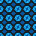Seamless background bright blue hexagons with colors and geometric shapes