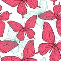 Seamless background with bright colorful butterflies beautiful hand drawn contour lines and strokes perfect for Royalty Free Stock Photos
