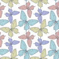 Seamless background with bright colorful butterflies beautiful hand drawn contour lines and strokes perfect for Stock Photography
