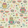 Seamless background bright with cute owls and flowers in cartoon style Stock Image