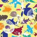 Seamless background with bright underwater inhabit colorful creatures Stock Photo