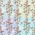 Seamless background with bullfinches sitting on branch