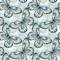 Seamless background with butterflies hand drawn contour lines and strokes perfect for greeting cards and invitations to Royalty Free Stock Photography