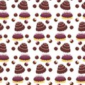 Seamless background with cakes Stock Photos