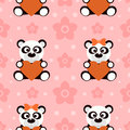 Seamless background card with pandas funny Royalty Free Stock Photos