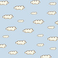 Seamless background with cartoon clouds vector illustation Stock Photos