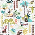 Seamless background with cartoon jungle animals