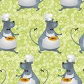 Seamless background cartoon rat cook with food and drink and floral pattern Stock Images