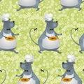 Seamless background, cartoon rat cook
