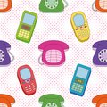 Seamless background, cartoon telephones Royalty Free Stock Photo