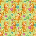 Seamless background cats playing with balls of wool yarn eps contains transparencies Stock Photography