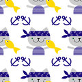 Seamless background with cats sailors. Cat with fish.