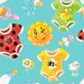 Seamless background of childrens clothes and toys bright Royalty Free Stock Image