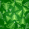 Seamless background with christmas trees green snowflakes and green stylized decorated white stars Royalty Free Stock Image