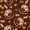Seamless background with coffee beans and cups on a brown Stock Photos