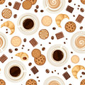 Seamless background with coffee cups, beans, cookies, croissants and chocolate. Vector illustration. Royalty Free Stock Photo