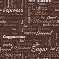 Seamless background with coffee tags. Royalty Free Stock Photo