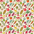 Seamless background with colored doodle sketch vegetables and fruits. Vector sketch illustration.