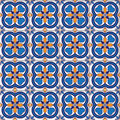 Seamless background with colored ornate tiles Royalty Free Stock Photo