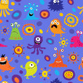 Seamless background with colorful monsters