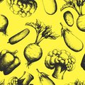 Seamless background consisting of silhouettes of vegetables Royalty Free Stock Photo