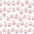Seamless background with cupcakes Stock Images