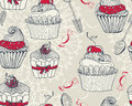Seamless background with cupcakes beautiful retro Stock Image