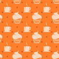 Seamless background with cupcakes and coffee cups abstract Royalty Free Stock Image