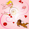 Seamless background with cupids Stock Images