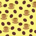 Seamless background with cups of coffee Stock Images
