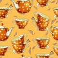 Seamless background with cups of tea and pots Royalty Free Stock Photo