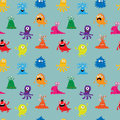 Seamless background with cute cheerful colorful monsters