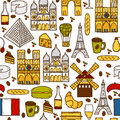 Seamless background with cute hand drawn cartoon shadow objects on paris theme eiffel tower flag moulen rouge wine croissant Stock Images