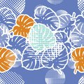 Seamless background with decorative leaves. Tropical palm leaves. Tropical jungle. Points.